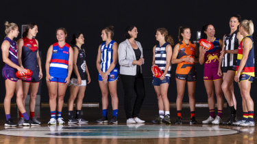 From left: Kellie Gibson, Meg Downie, Ellie Blackburn, Madison Prespakis, Jasmine Garner, Nicole Livingstone, Nina Morrison, Nicola Barr, Leah Kaslar, Sharni Layton and Erin Phillips.