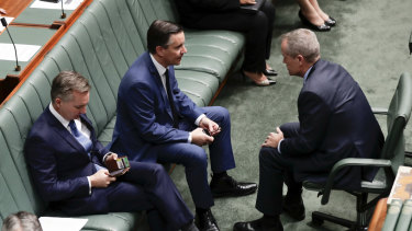 The Labor frontbench in conversation.