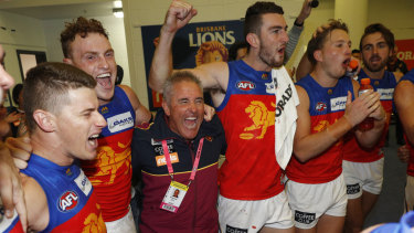 Chris Fagan and the Lions celebrate after their second win of the season.
