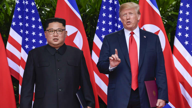 Kim Jong-un with Donald Trump at the June summit in Singapore.