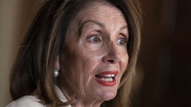 Speaker of the House Nancy Pelosi, speaks during an interview with The Associated Press.