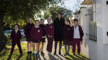 Premier Gladys Berejiklian with children from Willoughby Public School ahead of Walk Safely to School day on Friday.