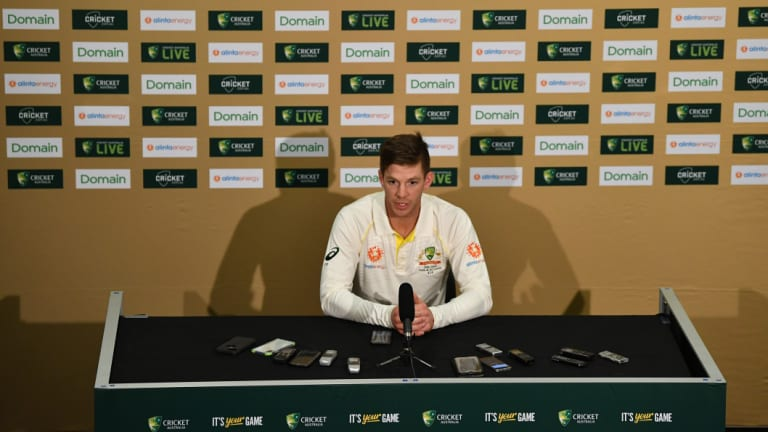 Glare of the spotlight: Tim Paine addresses the media in Adelaide, where he will be the face of an Australian team reinventing themselves in front of a home audience.