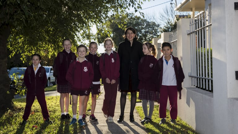 Premier GladysBerejiklian with children from Willoughby Public School ahead of Walk Safely to School day on Friday.