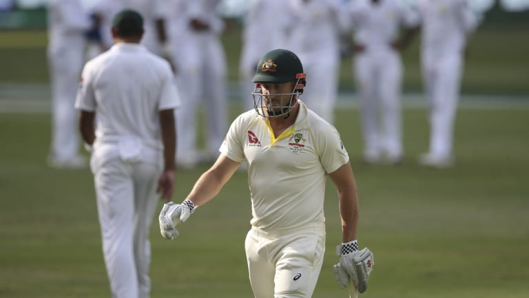 Australia's Shaun Marsh is dismissed by Pakistan's Mohammad Abbas.
