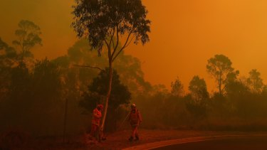 As the fire front approaches an RFS crew asseses the perimeter at Barden Ridge, Sydney.