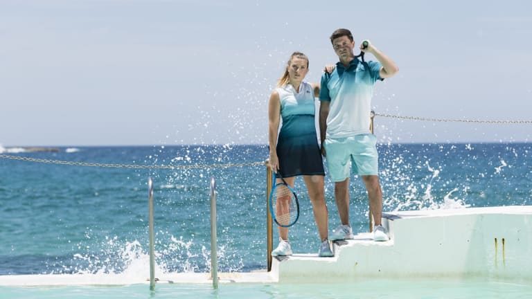 Models wearing Adidas' new 100 per cent recycled tennis range that top players will debut at the Australian Open on Monday.