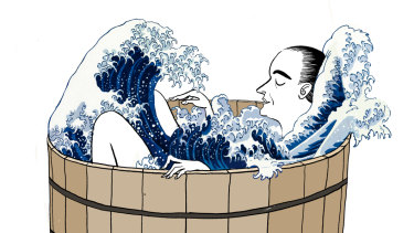 A soak in the bath an hour or so before bed can improve your sleep. Illustration by Simon Letch
