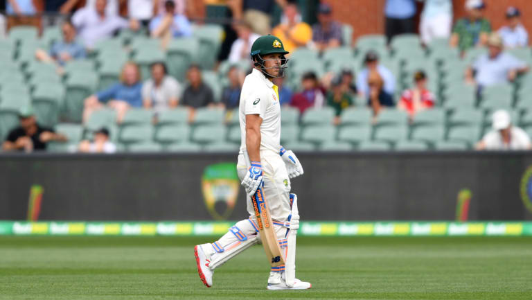 Aaron Finch walks off the Adelaide Oval, which is a day-only Test this year.