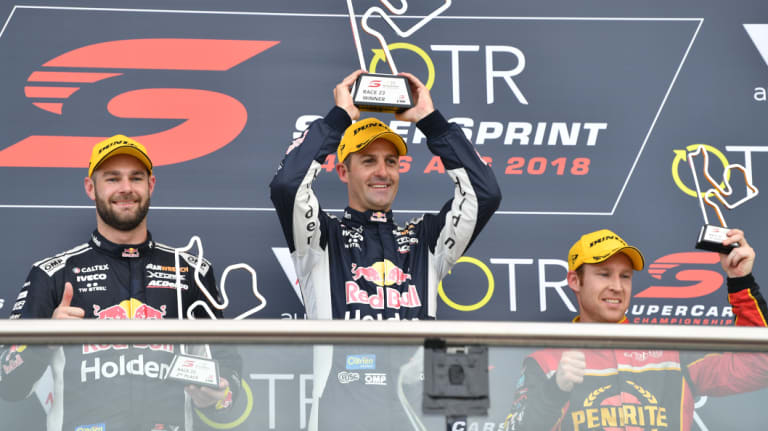 Pace setters: (L-R) Second placed Shane van Gisbergen from Triple Eight Race Engineering, winner Jamie Whincup from Triple Eight Race Engineering and third placed David Reynolds from Erebus Penrite Racing on the podium after race 23 of the 2018 Virgin Australia Supercars Championship.