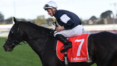 All smiles:  James McDonald returns after winning the Herbert Power Stakes on Yucatan, favourite for the Melbourne Cup.