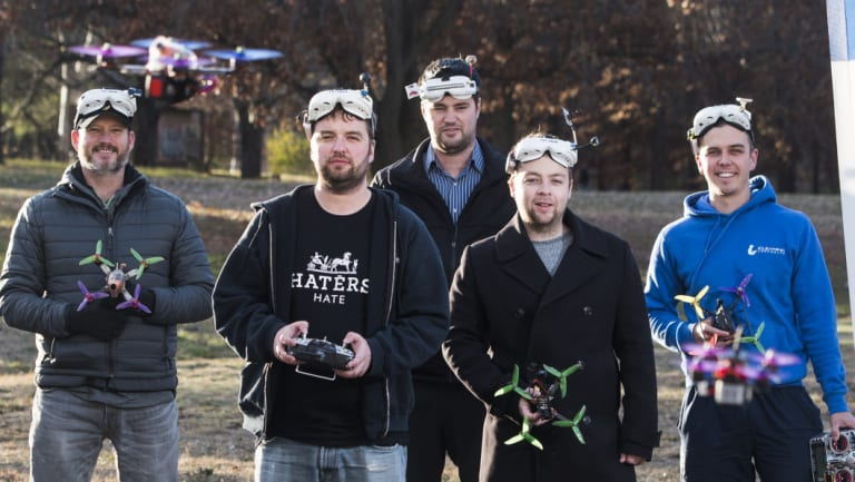 Canberra Multi-rotor Racing Club members Andy Soesman, Timothy Crofts, Joe Igoe-Taylor, Jacob Ryan and Dean Koeck will be taking part in the Canberra's drone racing championships on the weekend, which serves as a qualifying event for the national championships.