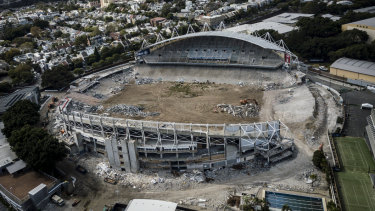The demolition of the Allianz Stadium is well under way.