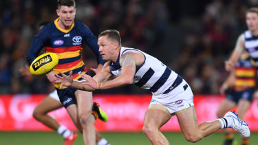 Bryce Gibbs and Joel Selwood battle for the ball.