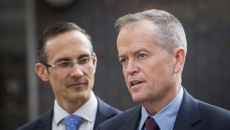 Opposition Leader Bill Shorten with Labor's shadow assistant treasurer Andrew Leigh.