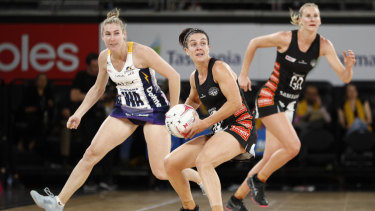 New season: Ashleigh Brazill in action for the Magpies in round one of the Super Netball.