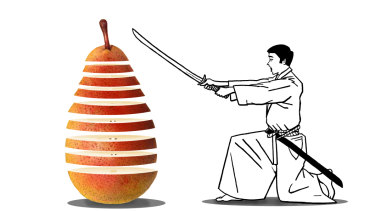 Slicing a piece of fruit is treated with the respect that every type of work deserves. Illustration by Simon Letch