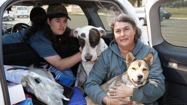 Sharon Ashby, son Nicholas and their two dogs Dexter and Cinnamon have been evacuated from their home in Old Bar Road.