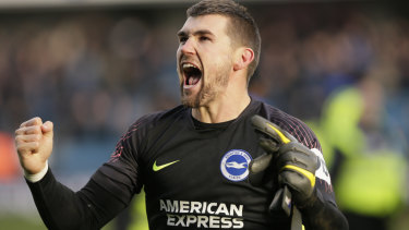 Like a glove: Mat Ryan was the hero in Brighton & Hove Albion's penalty-shootout quarter-final win over Millwall.