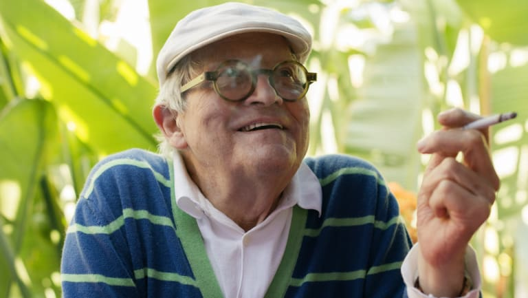 David Hockney on his deck at his home in the Hollywood Hills section of Los Angeles in 2017.