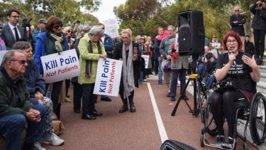 Disability advocate Samantha Connor during a rally opposing Voluntary Assisted Dying laws at Parliament House on Wednesday.