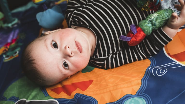 """Lachlan was a """"wakeful baby"""" and would often be awake in seven-hour blocks from just one-week-old."""
