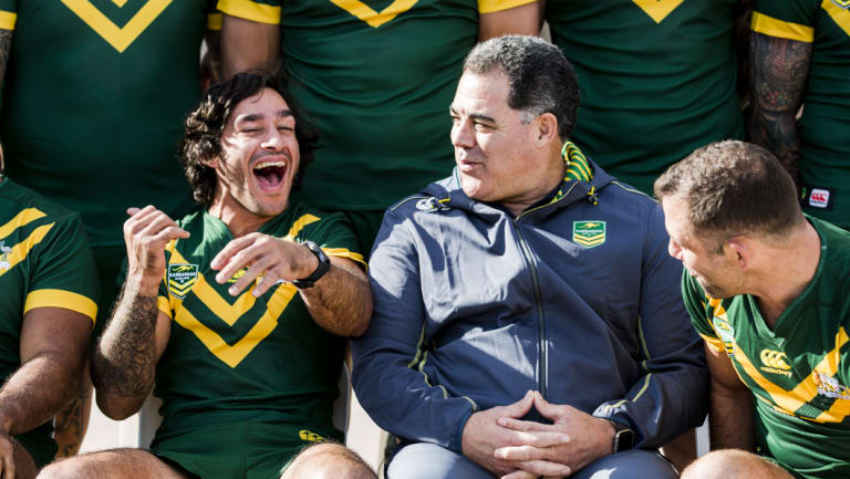Infectious laugh: Johnathan Thurston entertains the troops in Kangaroos camp.