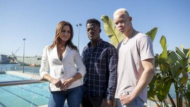 Simone Cox, Solomon Serugga and Weah Bangura at the David Jones Spring Summer 18 show model casting at the Andrew Boy Charlton Pool on Wednesday.