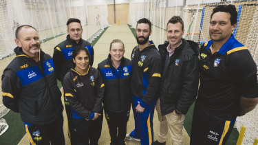 Cricket ACT are announcing the coaching staff for the ACT Meteors women's team. From left, David Drew, Stu Karpinnen, Lisa Sthalekar,  Rebecca Maher, Jono Dean, James Allsopp, and Daryl Tuffey.