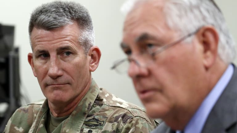 US General John Nicholson Jr pictured with then-Secretary of State Rex Tillerson in October, 2017.