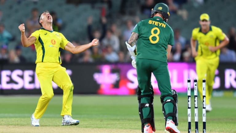 Late blows: Marcus Stoinis reacts after dismissing Dale Steyn.
