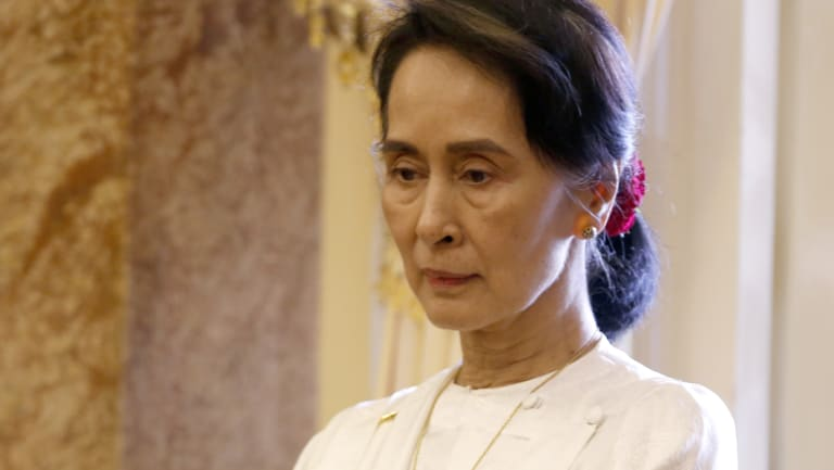 Myanmar's leader Aung San Suu Kyi in Vietnam on Thursday.