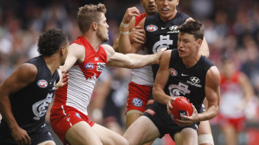 Gallant: Sam Walsh was good in a losing side for the Blues.