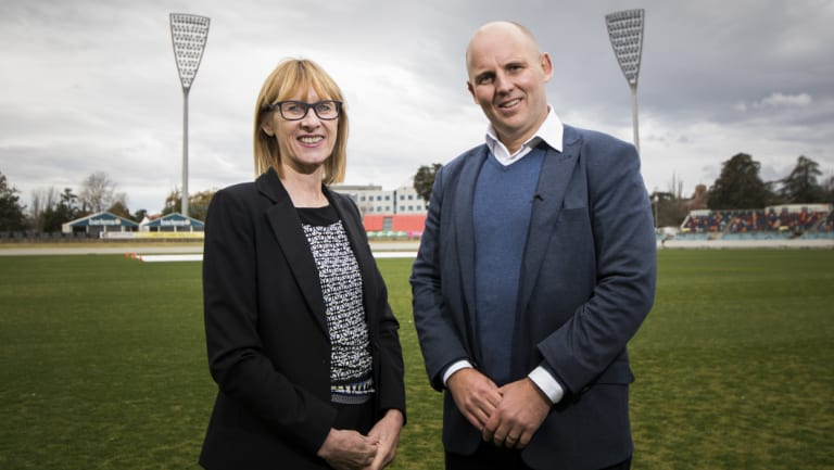 ACT government director of venues Liz Clarke and Cricket ACT boss Cameron French at Manuka Oval on Friday.