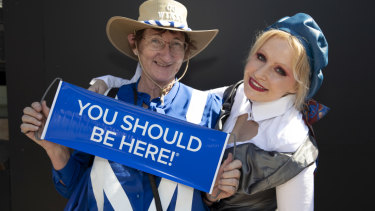 Liz Bellos, who has travelled from Victoria to see the race, and official milliner Nerida Winter, will cheer on Winx.