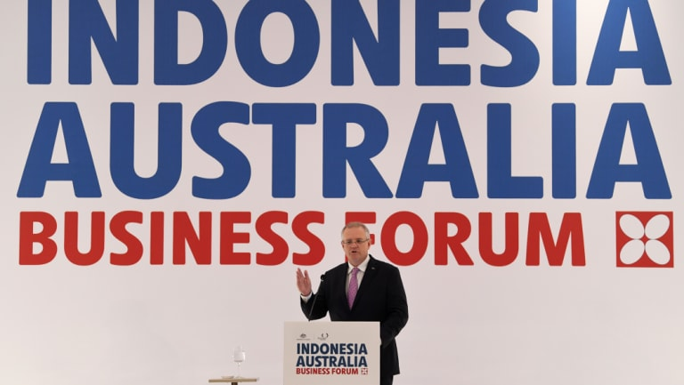 Scott Morrison speaks during the Indonesia Australia Business Forum in Jakarta on Saturday.