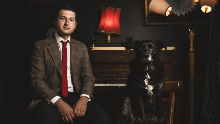 Former Australian Sex Party ACT leader Steven Bailey with his female dog Bruce, opens up about his struggles with mental illness.
