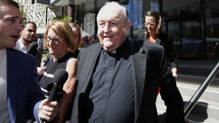 The Archbishop of Adelaide Philip Wilson outside court in April.