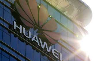 The logo of Huawei stands on its office building at the research and development centre in Dongguan in south China's Guangdong province.