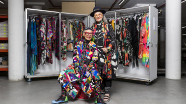 Jenny Kee and Linda Jackson at the Powerhouse Museum, Sydney, 2019.
