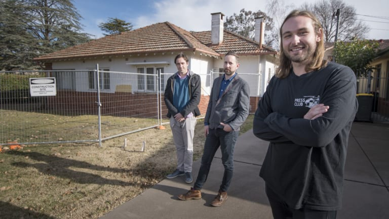 Michael Bones (right) with fellow Kingfisher Co-Housing project colleague Mathew McGann (left) and architect Stephen Hicks of David Barr Architects also involved in the plans to the government which suggests establishing 'co-housing' as a housing alternative to expensive homes.