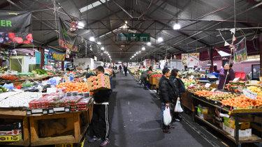 Queen Victoria Market's fruit and vegetable stalls