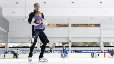 Alissa Pfitzner and her daughter Scarlett at Macquarie Ice Rink on Thursday.
