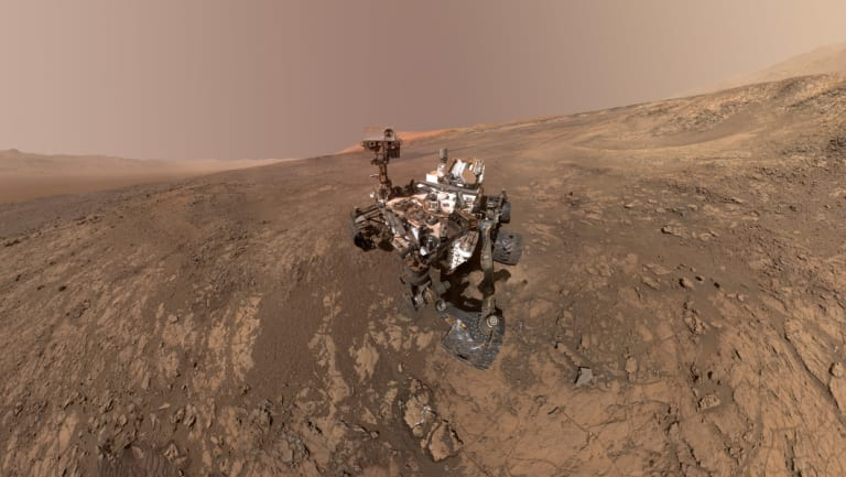 A composite self-portrait of NASA's Curiosity Mars rover on Vera Rubin Ridge, Mars, in January.