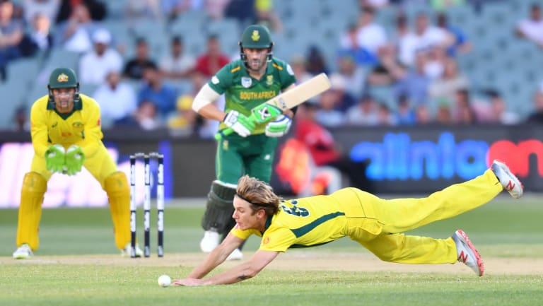 Saved runs: Adam Zampa stops a ball from Faf du Plessis.