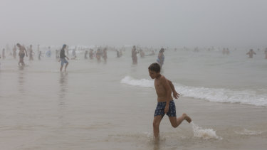 Heavy fog rolls over Bondi at midday on Wednesday.