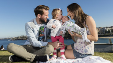 Aviana, with parents Johnny and Bethan McElwee and brother Hugo, on Sunday.