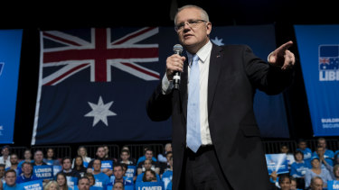 Scott Morrison speaks at a Liberal Party rally at Sydney Olympic Park on Sunday.