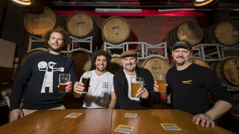 Inner West craft brewers celebrate the news: Chris Sidwa from Batch, Matt King from The Grifter, Richard Adamson from Young Henrys and Peter Phillip from Wayward Brewing Co, at Wayward.