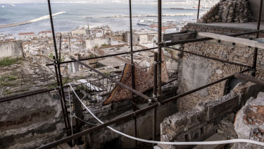 A building under renovation in the Casbah district of Algiers.